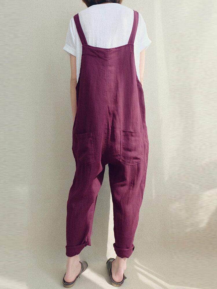 Women Solid Color Linen Cotton Strappy Pocket Loose Harem Jumpsuit COD 14bcffac3341