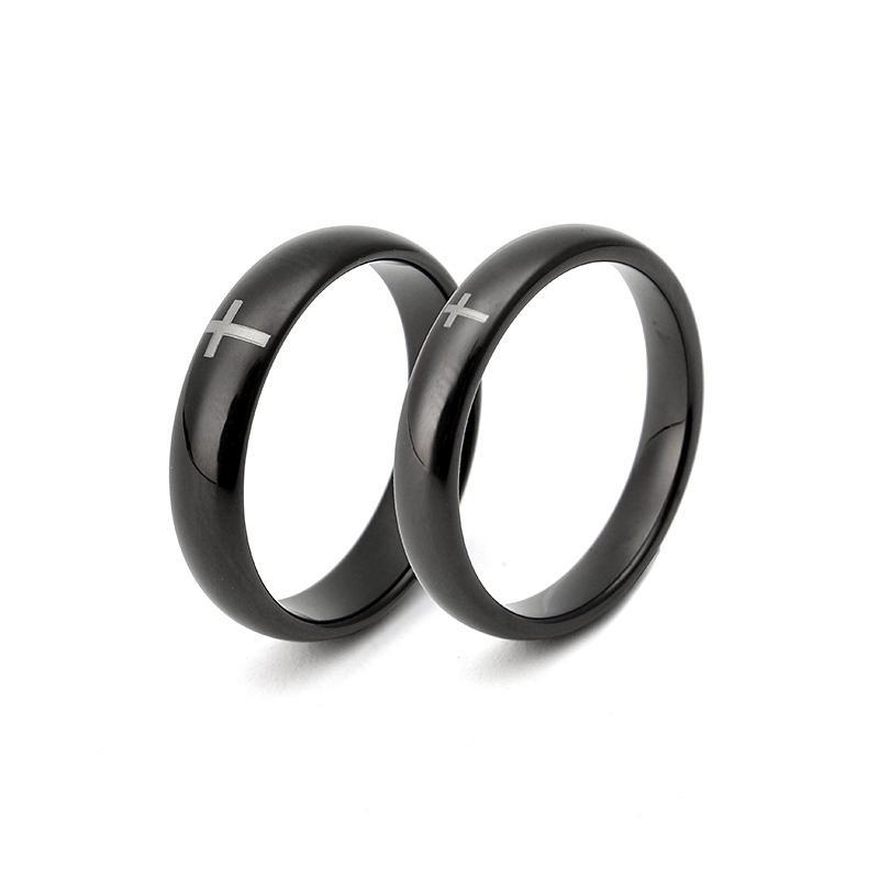 Tungsten Steel Black Cross Trendy Casual Ring Jewelry