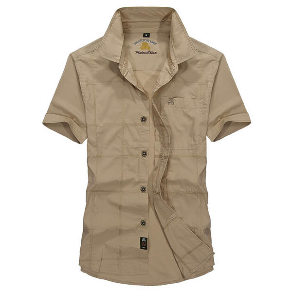 Hommes Outdoor Cotton Militaire Summer Solid Color Pocket Casual Cargo Shirts