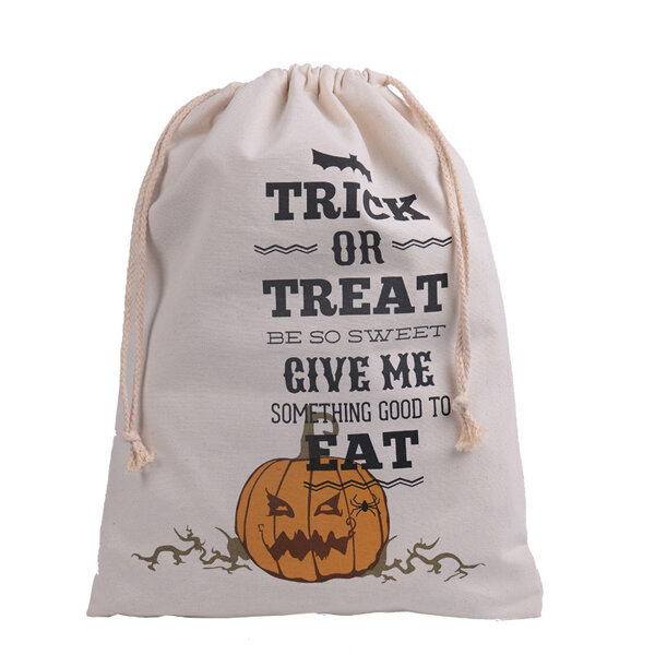 Halloween Bag Canvas Party Halloween Sacks Drawstring Candy Gifts Bag