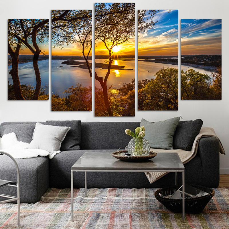 5 panneau toile peinture coucher de soleil lac arbre paysage marin paysage affiche impression murale art décor photo