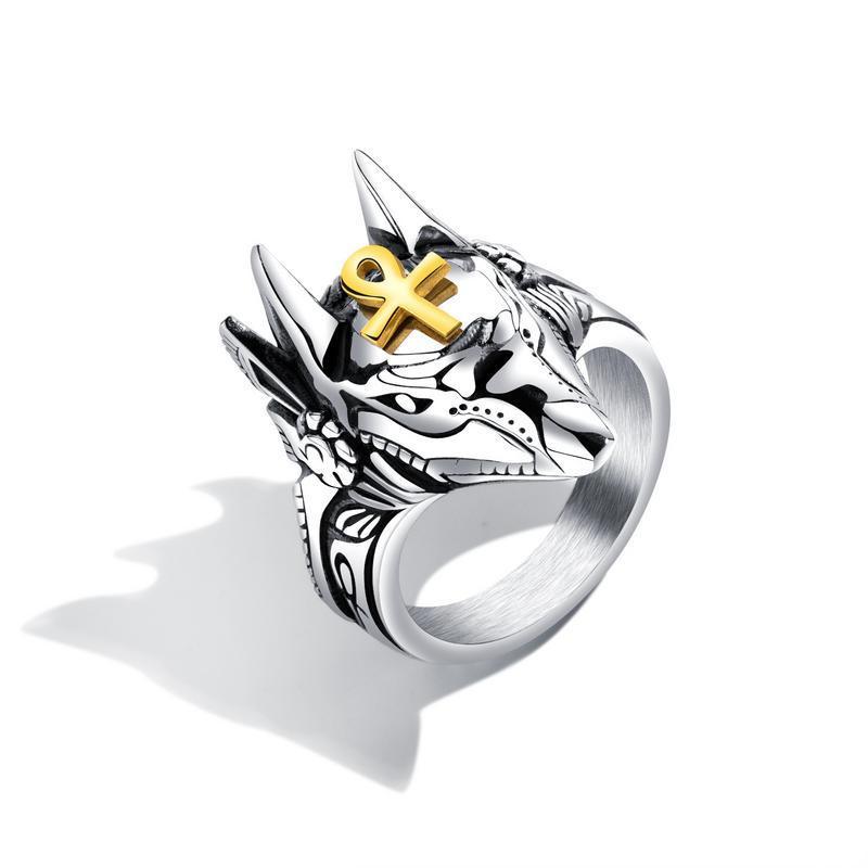 Punk Finger Ring Titanium Steel Cross Anubis Head Portrait Finger Rings Accessories Jewelry for Men