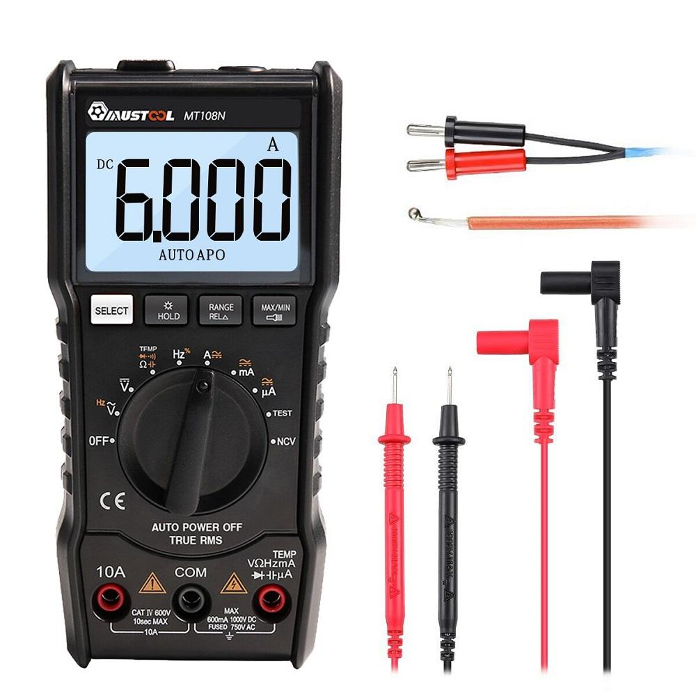MUSTOOL MT108N True RMS NCV Live Line Test Temperature Tester Digital Multimeter 6000 Counts Backlight AC DC Current/Voltage Resistance Frequency Capacitance