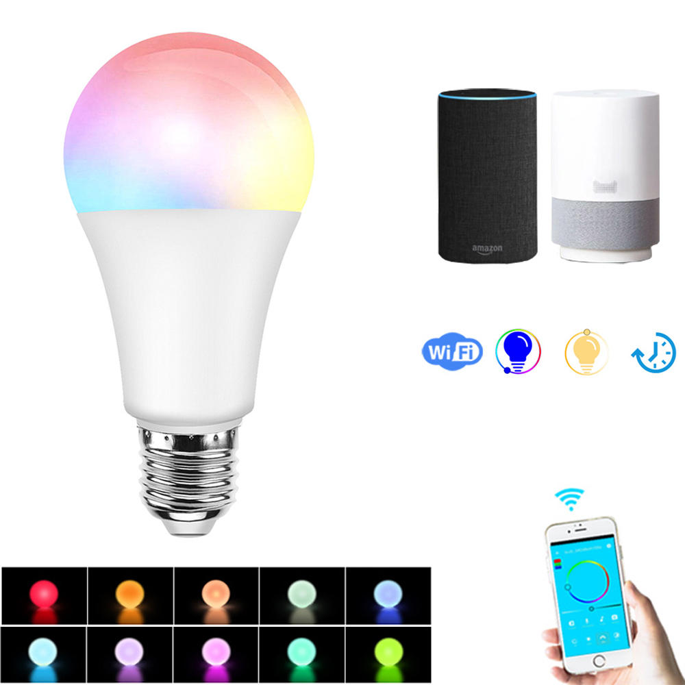 E27 7.5W RGBW Dimmable Smart Wifi APP Control LED Light Bulb Work with Alexa Google Home AC100-264V