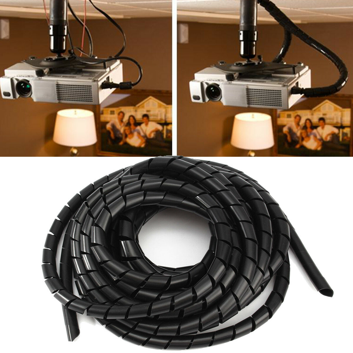 6m Tidy Wire Pc Tv Organising Wrapping Cable Cover Spiral Office Wiring A Light Fixture To Cord Tube Manage