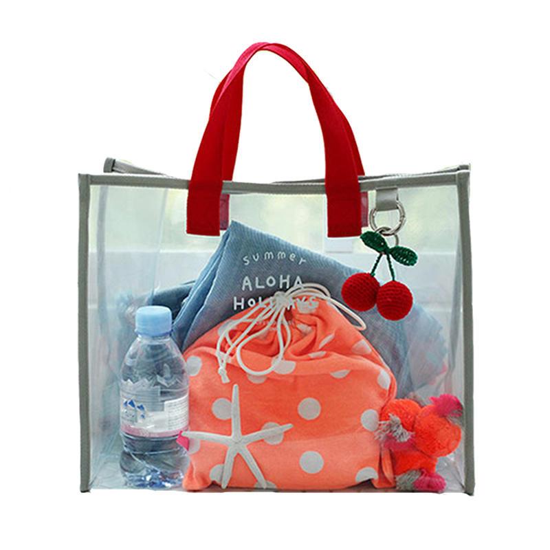 Damen Transparente PVC-Handtasche Schultertasche Einkaufstasche Clear Beach Taschen