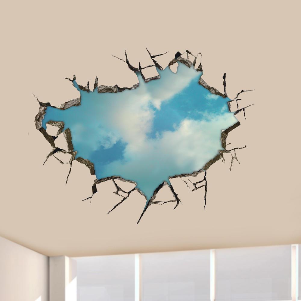 3D 하늘 벽 Decals 천장 구멍 벽 아트 스티커 22 인치 이동식 홈 장식