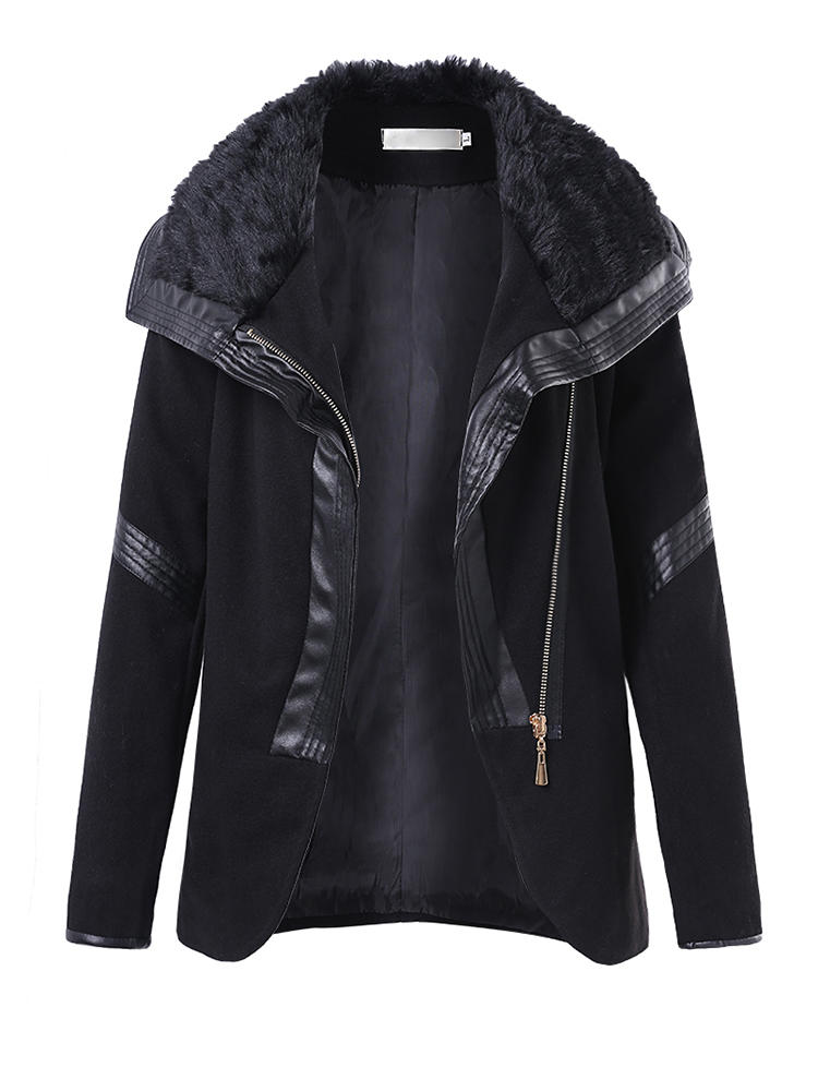 Casual Women Zipper Locket Långärmad Läder Patchwork Slim Coat