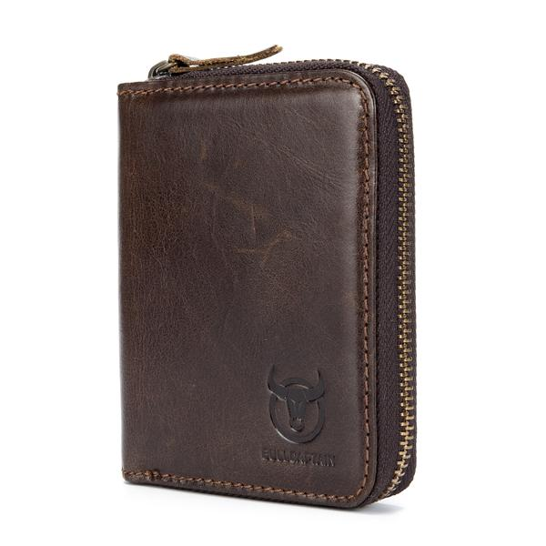 Bullcaptain Men RFID Blocking Secure Antimagnetic Genuine Leather 10 Card Slots Coin Bag Wallet