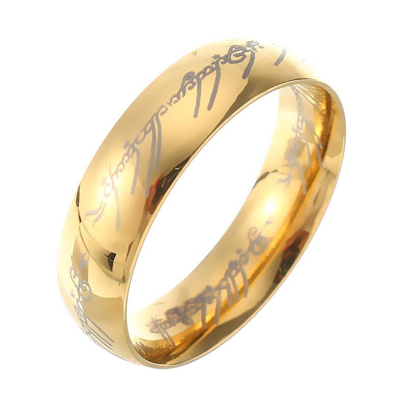 18K Gold überzogener Herr Ringe Edelstahl LOTR Finger Ring für Unisex