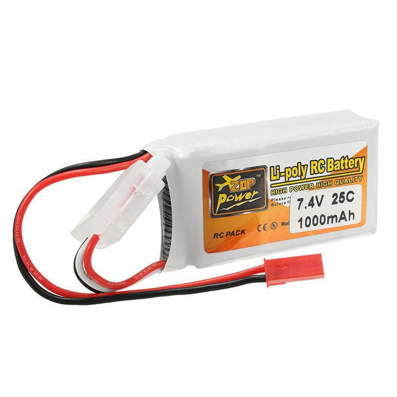 ZOP Power 7.4V 1000mAh 2S 25C литий полимерный аккумулятор \ Lipo с JST коннектором