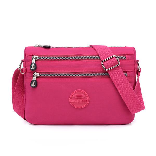 Women Nylon Water Resistant Multi-slot Crossbody Bags Solid Leisure Shoulder Bags
