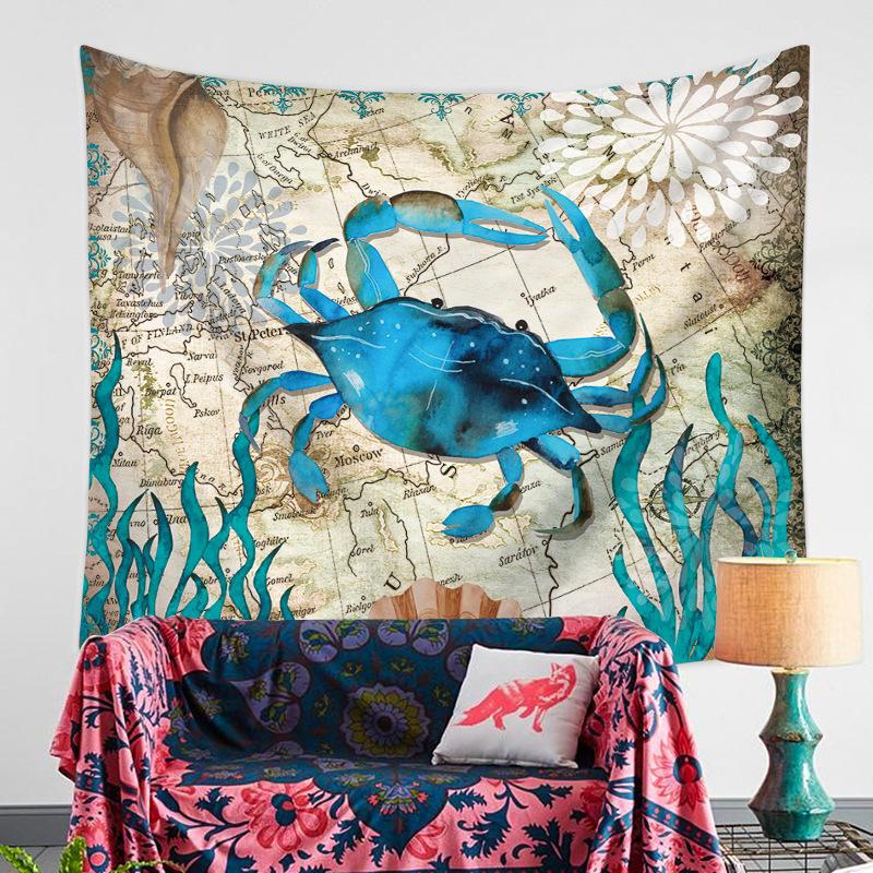Décorations murales de tapisserie de crabe bleu suspendues pour les couvertures murales