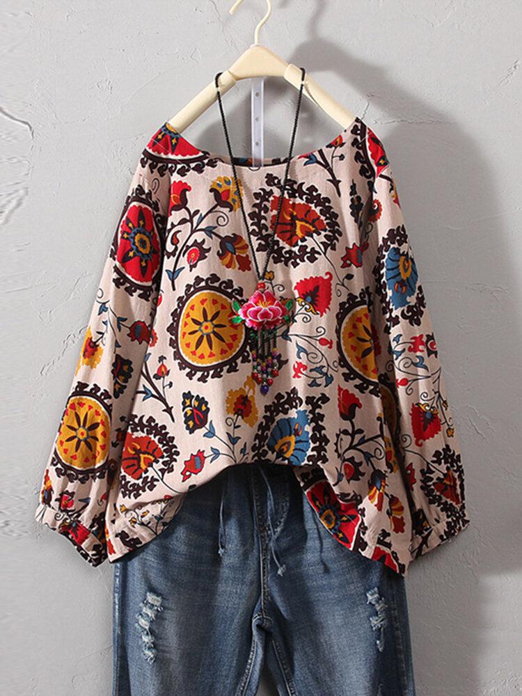 Plus Size Vintage Floral Print Round Neck Three Quarter Sleeve Cotton Linen Blouse