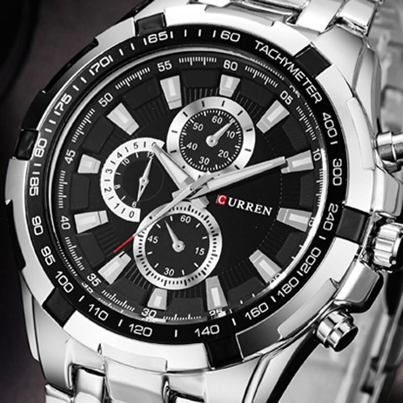 CURREN 8023 패션 남자 스타일 시계 방수 가짜 3 다이얼 아날로그 쿼츠 시계