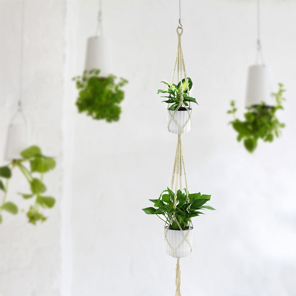 Double Layer Handmade Cotton Flower Pot Holder Hanging Basket Hanger Ropes Garden Home Decoration Plant Macrame Rope