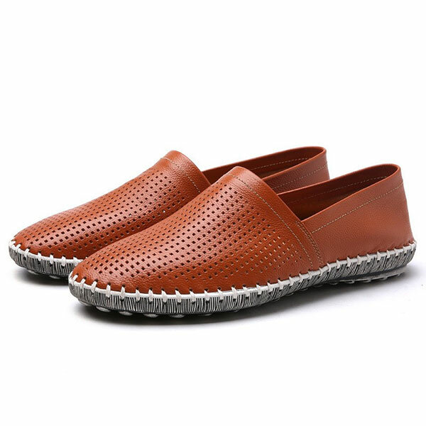 Men Casual Breathable Hand Stitching Hollow Out Flat loafers