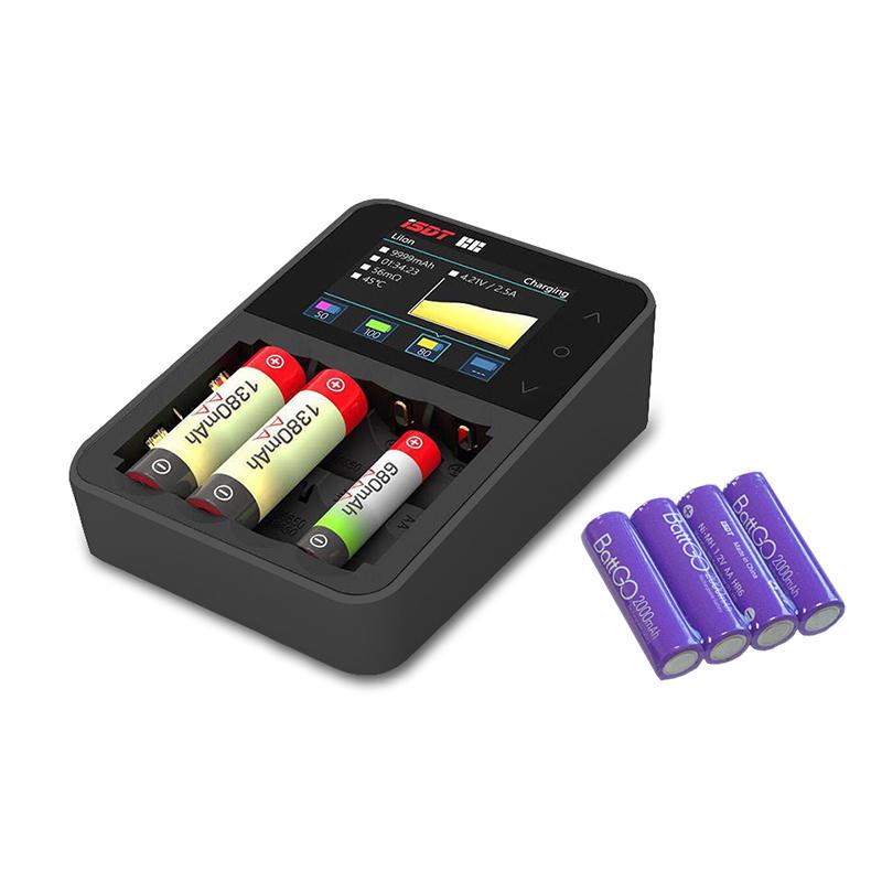 ISDT C4 chargeur Batterie intelligent d'écran tactile 8A avec 4Pcs 2000mAh AA Batterie rechargeable cadeau de limite