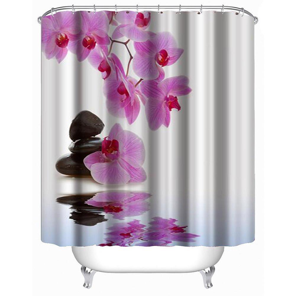 Bain imperméable de fleur de tissu de polyester baignant des rideaux de douche de salle de bains avec des crochets pour des décorations à la maison