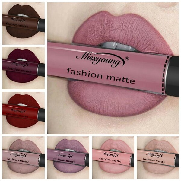 Missyoung Matte Gloss Brillant à Lèvre Liquide Maintien Durable Maquillage Exagéré