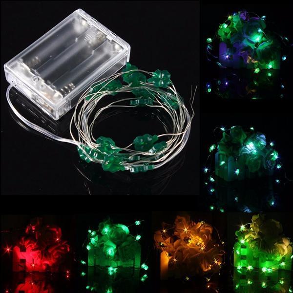 2M 18 LED แบตเตอรี่ ดำเนินการคริสต์มาสสี่ใบไม้ Clovers String Fairy Lights ปาร์ตี้ งานแต่งงาน ประดับคริสต์มาส