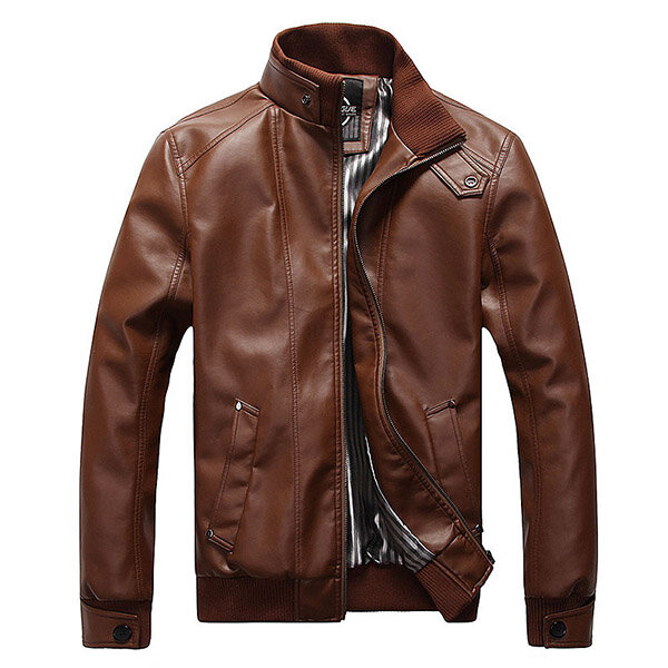 2b737ab8ba7 Plus Size Mens Fashion Black Faux Leather Jacket Stand Collar Motorcycle  Slim Fit Coat COD