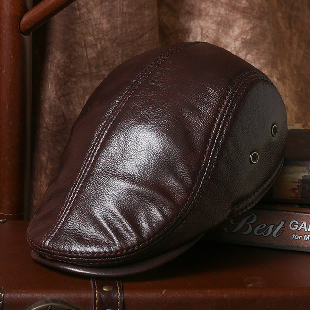 Collrown Men Genuine Leather Cowhide Warm Ear Pads Ear Protection Leather Hat Fashion Beret Caps With Earmuffs