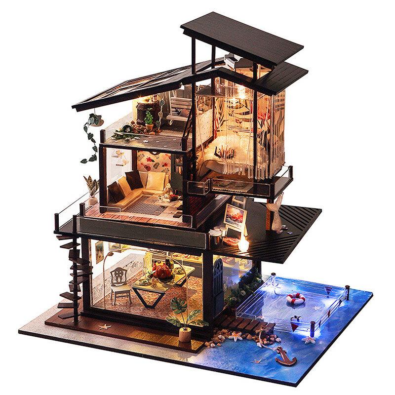 T Yu Dollhouse Diy Valencia Coastal Villa Doll House Miniature