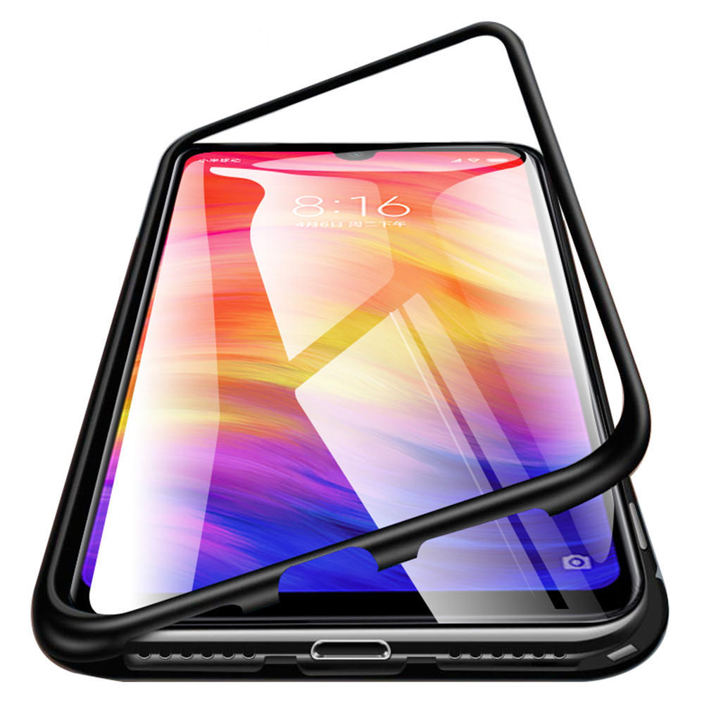 Bakeey™ Magnetic Flip Metal Frame Tempered Glass Full Cover Protective Case for Xiaomi Redmi Note 7 / Note 7 Pro