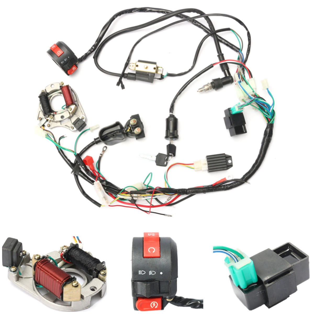 50cc 70cc 90cc 110cc Cdi Wire Harness Assembly Wiring Kit Atv Cover For Electric Start Quad