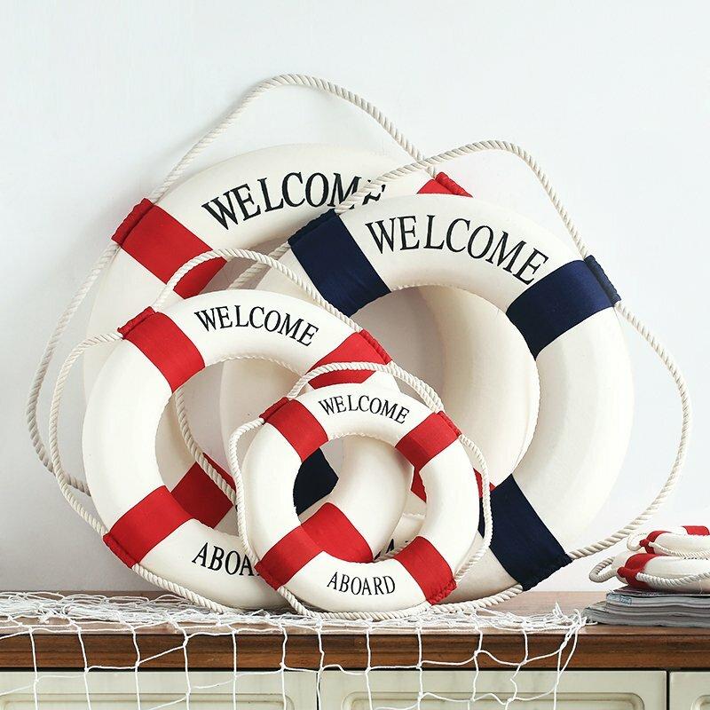Méditerranéen de bienvenue de style bord vie décorative maison de bouée décor