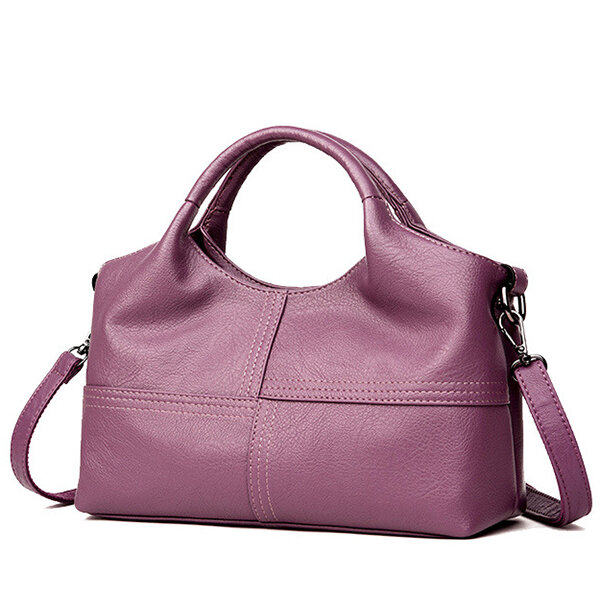 Women PU Soft Leather Handbags Stitching Solid Large Capacity Shoulder Bags