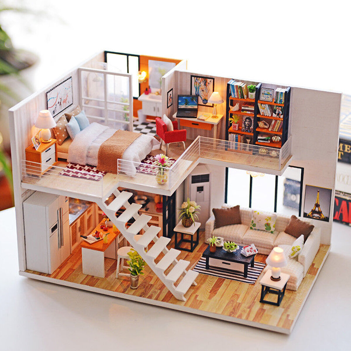 Superb Loft Apartments Miniature Dollhouse Wooden Doll House Furniture Led Wiring Digital Resources Cettecompassionincorg