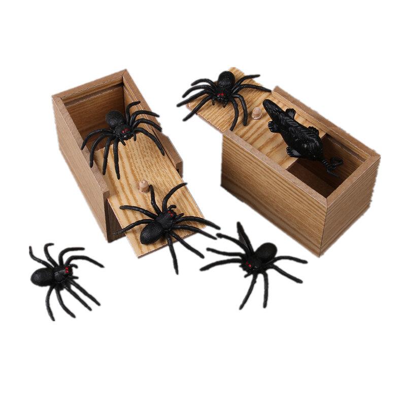 Prank Spider Inset Madera Asustar Caja Truco Jugar Broma Sorpresa realista Día de los inocentes Divertidos Novedades Juguetes Gags Regalos prácticos