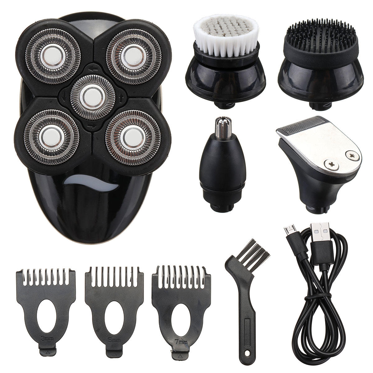 5 In1 Wet Dry 4D Rechargeable Shaver Razor Cordless Hair Clipper Trimmer Groomer Waterproof