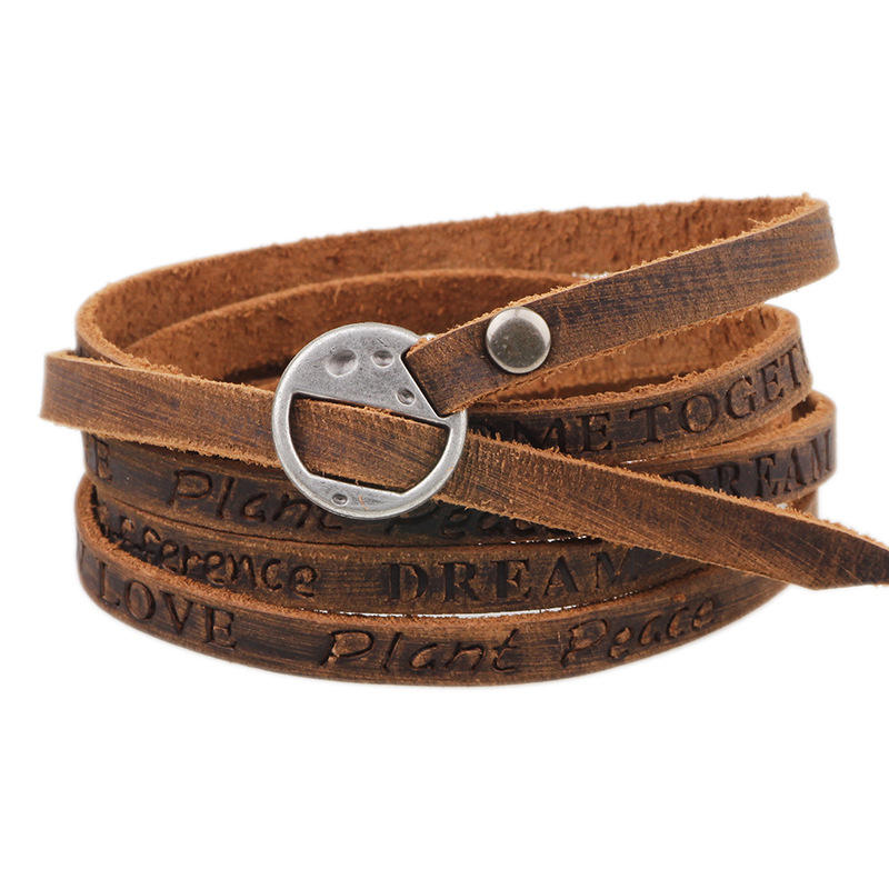 Punk Leather Ancient Wristband Simple Word Love Multilayer Bracelet for Women for Men