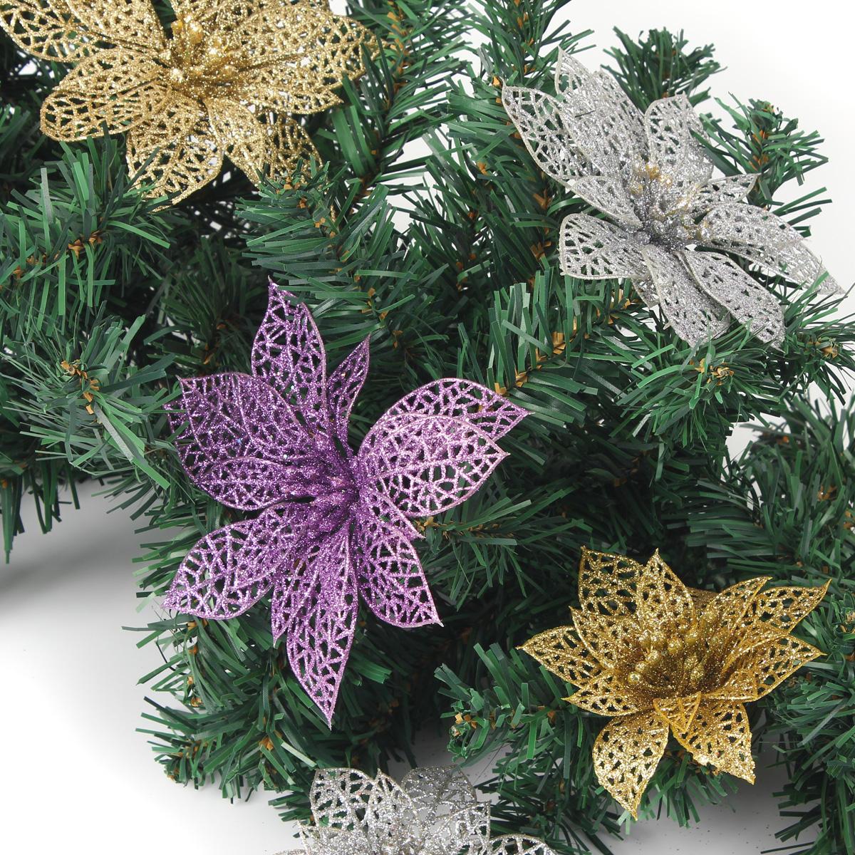 Natale decorazione floreale scintillio lascia deocration partito