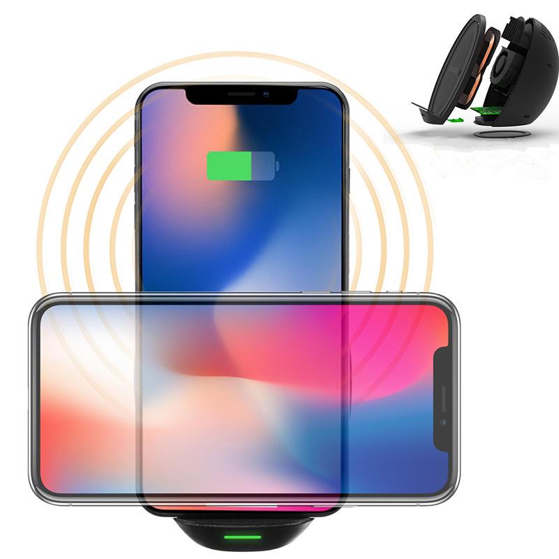 Kablosuz Qi Hızlı Şarj Şarj Cihazı Çift Bobinli Fanlı Samsung için S8 iPhone 8 Plus X
