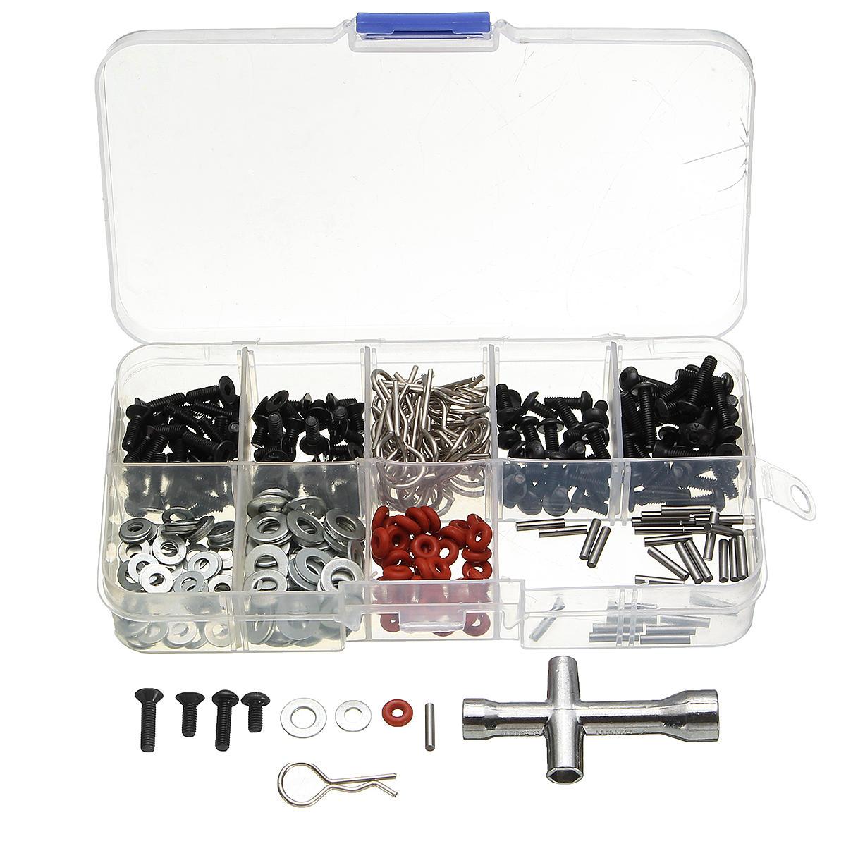 270pcs Vidalar Kutu Altıgen Somun Anahtarı Onarım Parçalar Kit için 1/10 HSP RC Araba DIY