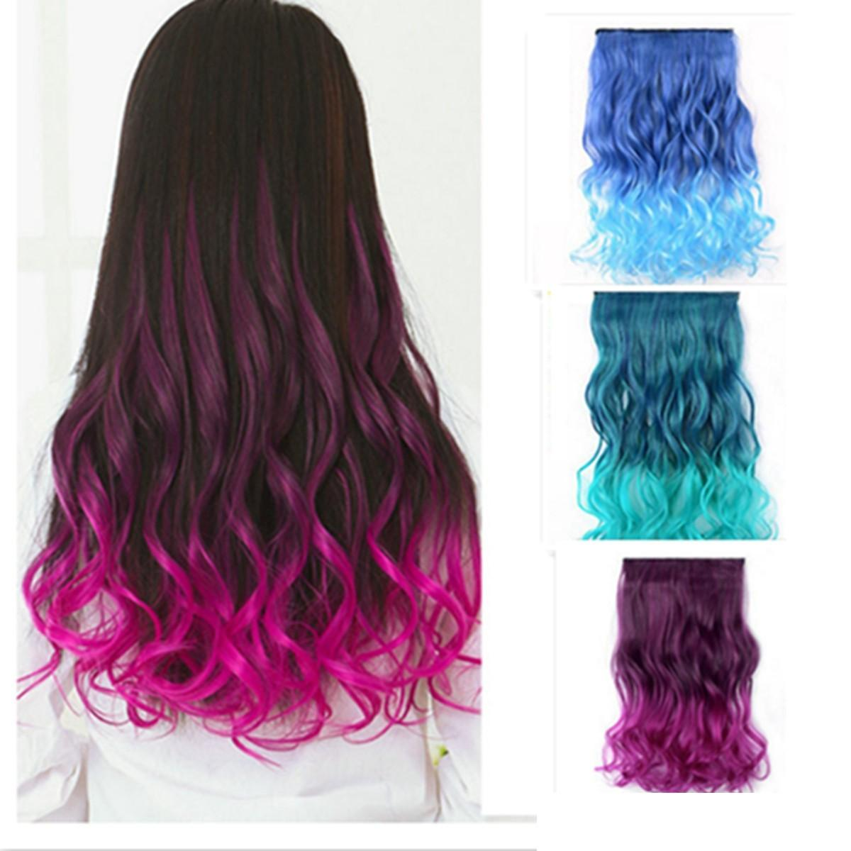 gradient color women straight curly full head clip in synthetic hair  extensions at Banggood sold out 34fe90ddb1