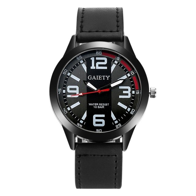 GAIETY G002 Fashionable Black Case Men Wrist Watch Business Style Quartz Watch