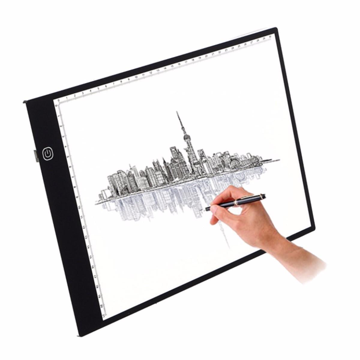 M.Way Ultra Thin A3 LED Copiar con cable USB Brillo ajustable Dibujo Pad Tracing Copy Board
