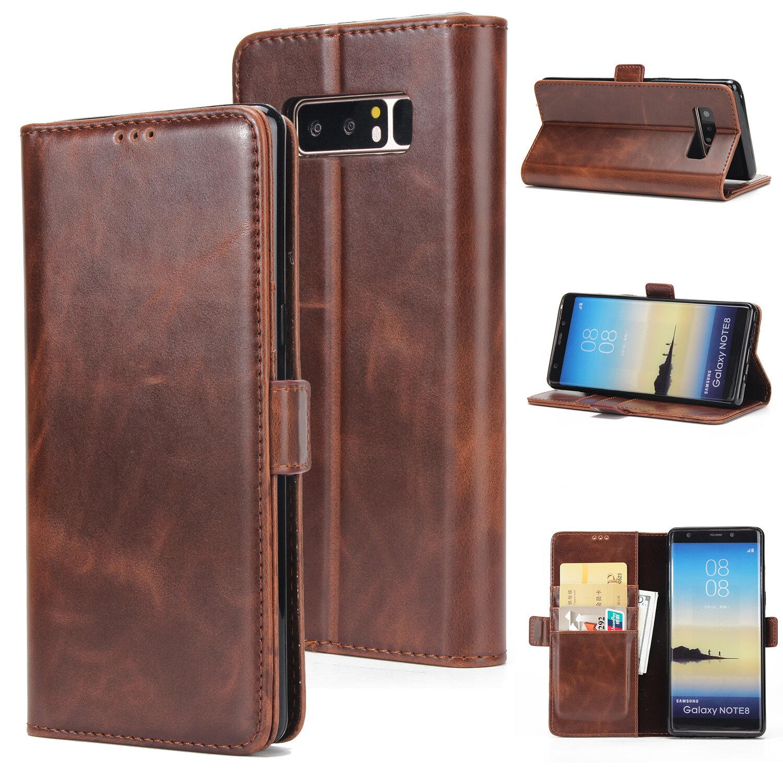 Кожаный кошелек для карточек с флип-скобами Магнитный Чехол для Samsung Galaxy Note 8