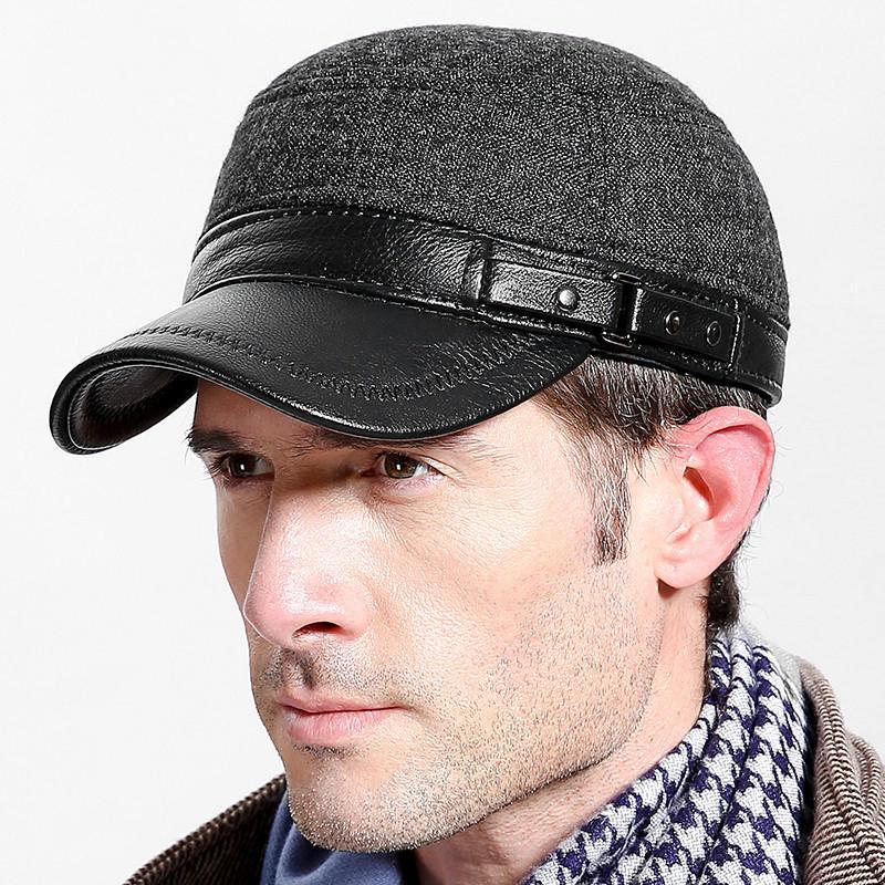 Chapeaux de dessus plat d'hiver de feutre des hommes avec le chapeau militaire réglable extérieur de protecteur d'oreille de protecteur d'oreille