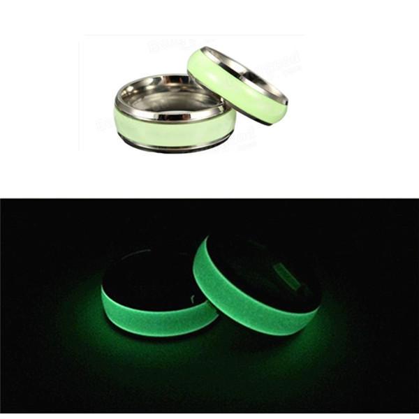 1PC Titanium Steel Luminous Round Couple Finger Ring For Men Women