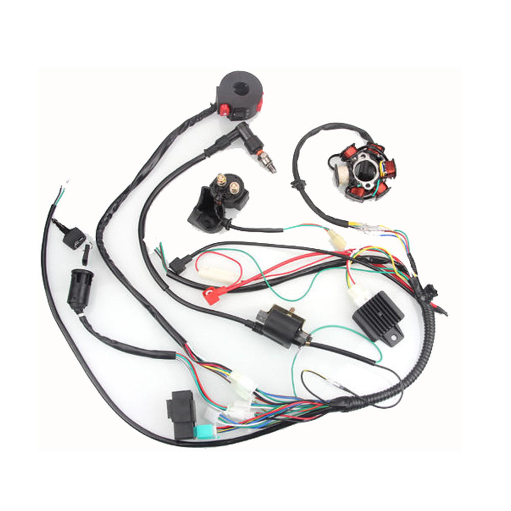 New 50cc 125cc Mini Atv Complete Wiring Harness Cdi Stator 6 Coil For Pole Ignition Electric