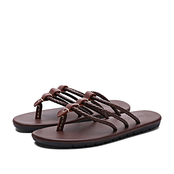 e5dbc0c77eb Men Genuine Leather Sandals Men The First Layer Of Leather Sandals Flip  Flops Fashion Weaving Shoe COD