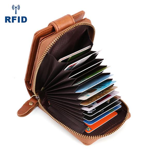 Men Genuine Leather RFID Anti-magnetic Vintage Casual 15 Card Slots Wallet