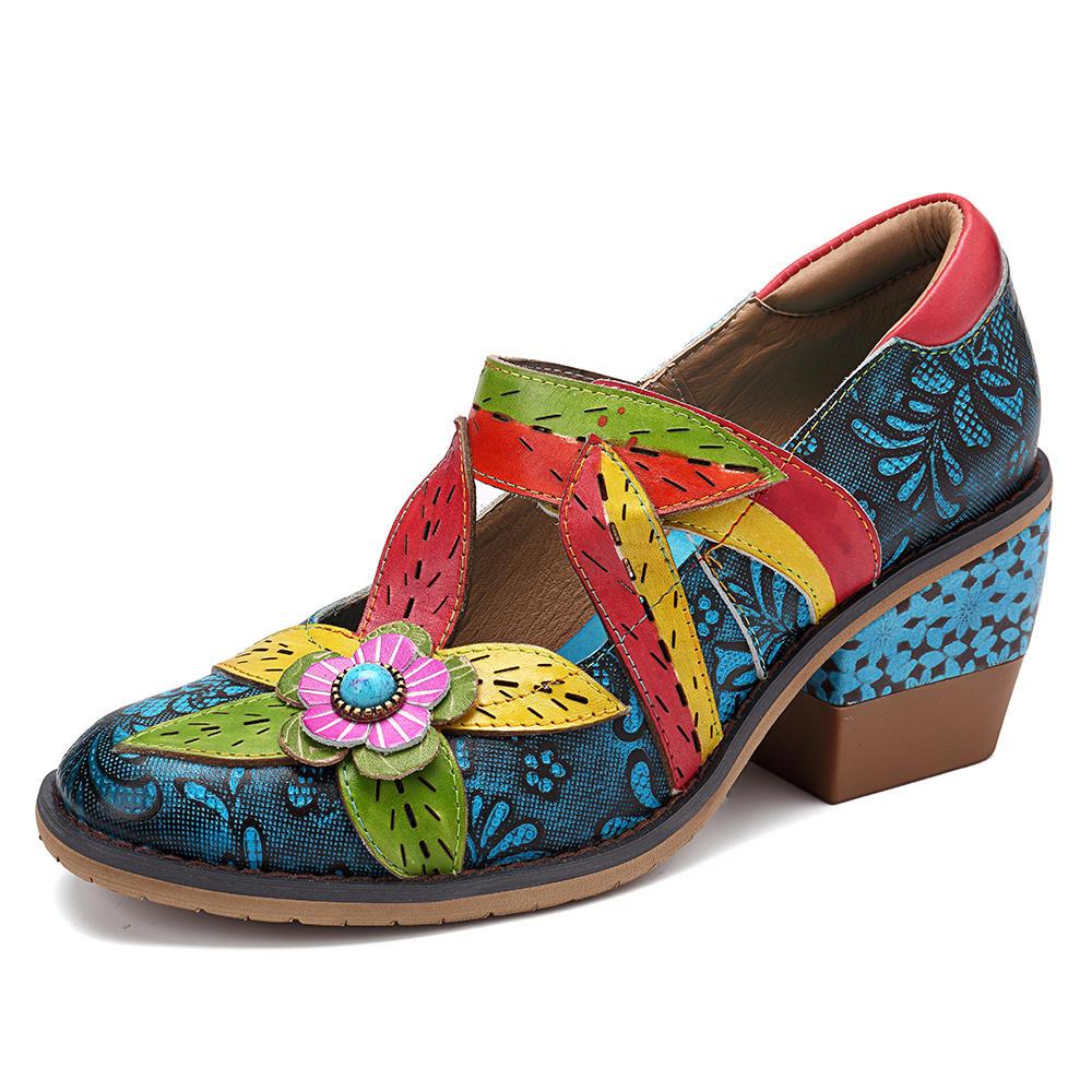 SOCOFY Handmade Piel Genuina Zapatos Patrón Bombas de tacón grueso