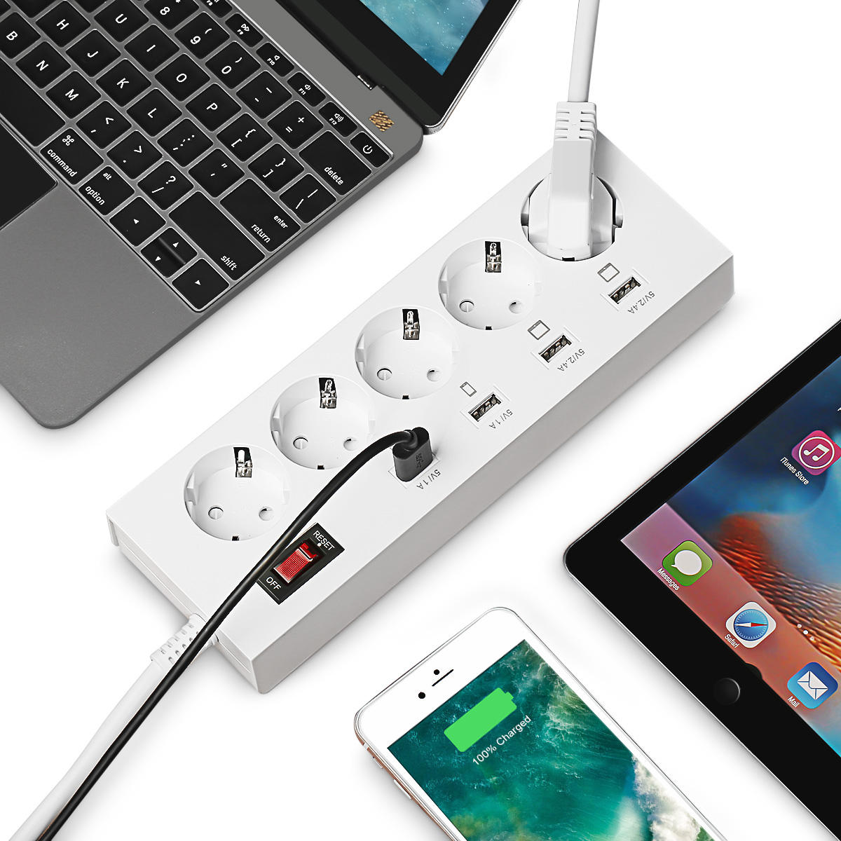ELE YA-30WS-5AE4U 5 Outlet Power Strip Charger with 4 USB Fast Charging Ports EU Plug
